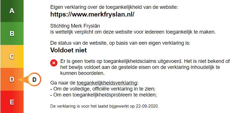 Het toegankelijkheidslabel van Merk Fryslân. Volg de link voor de toegankelijke versie van dit label.